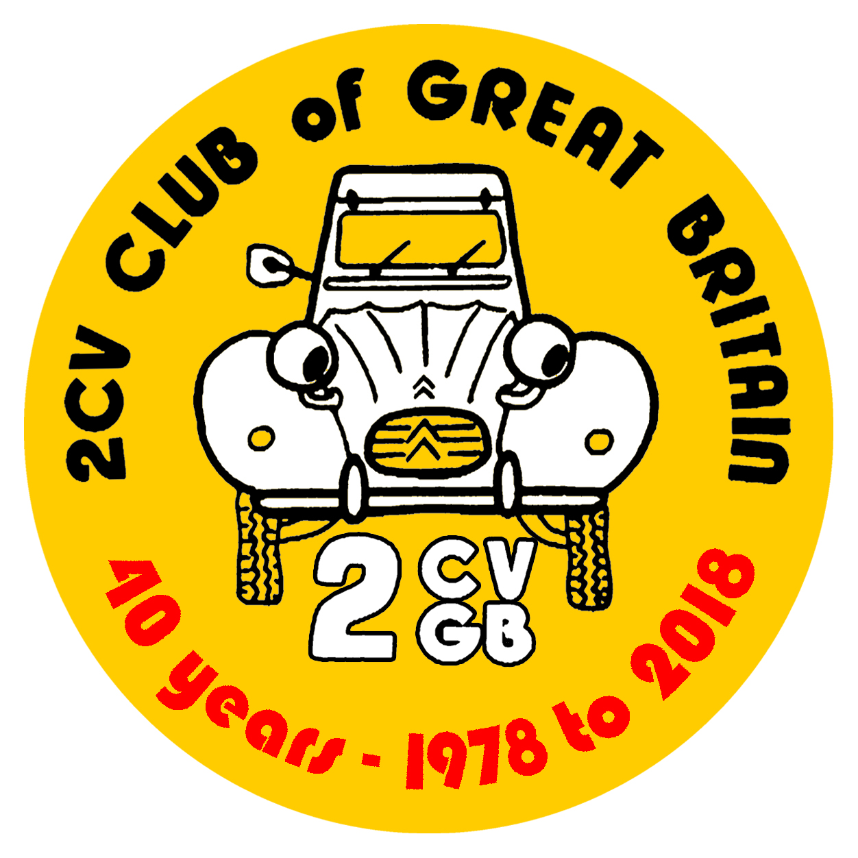 2CVGB sticker 40 years black+white+red on yellow